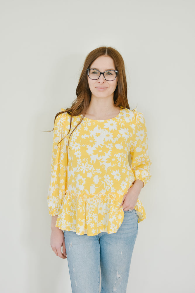 Yellow Floral Peplum Blouse