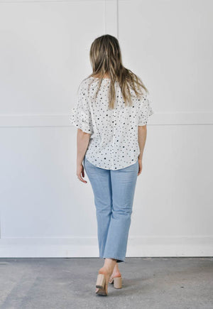 Seeing Spots Ruffle Blouse (White)