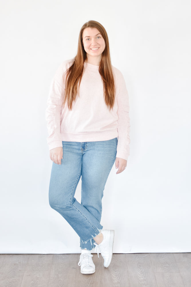 Gathered Sleeve Pullover - Pink