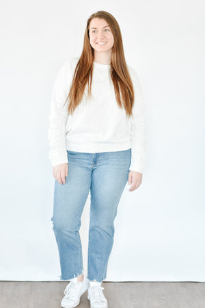 Gathered Sleeve Pullover - White