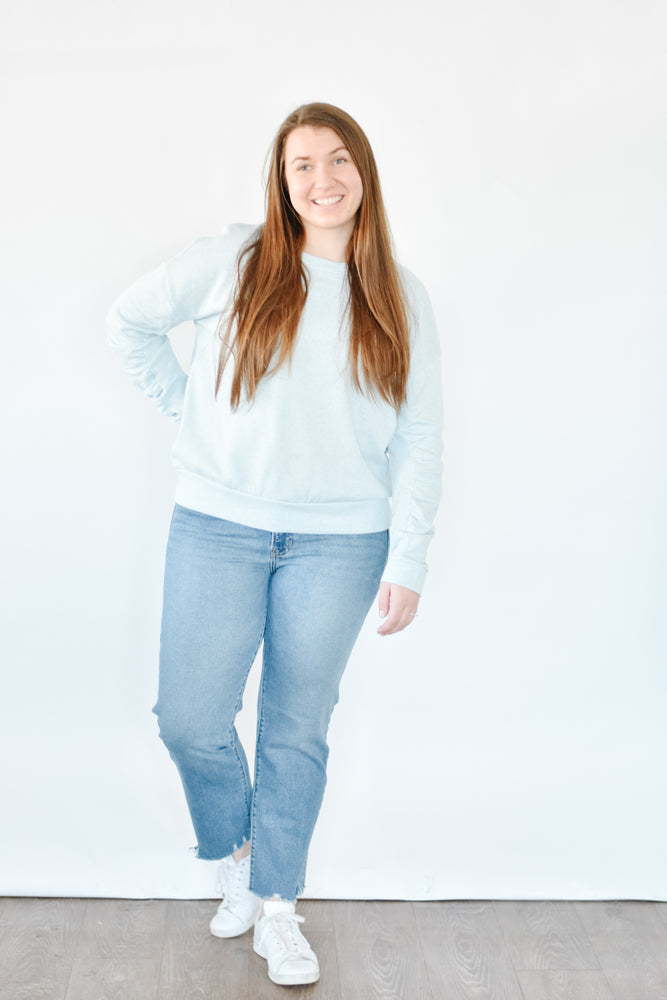 Gathered Sleeve Pullover - Blue