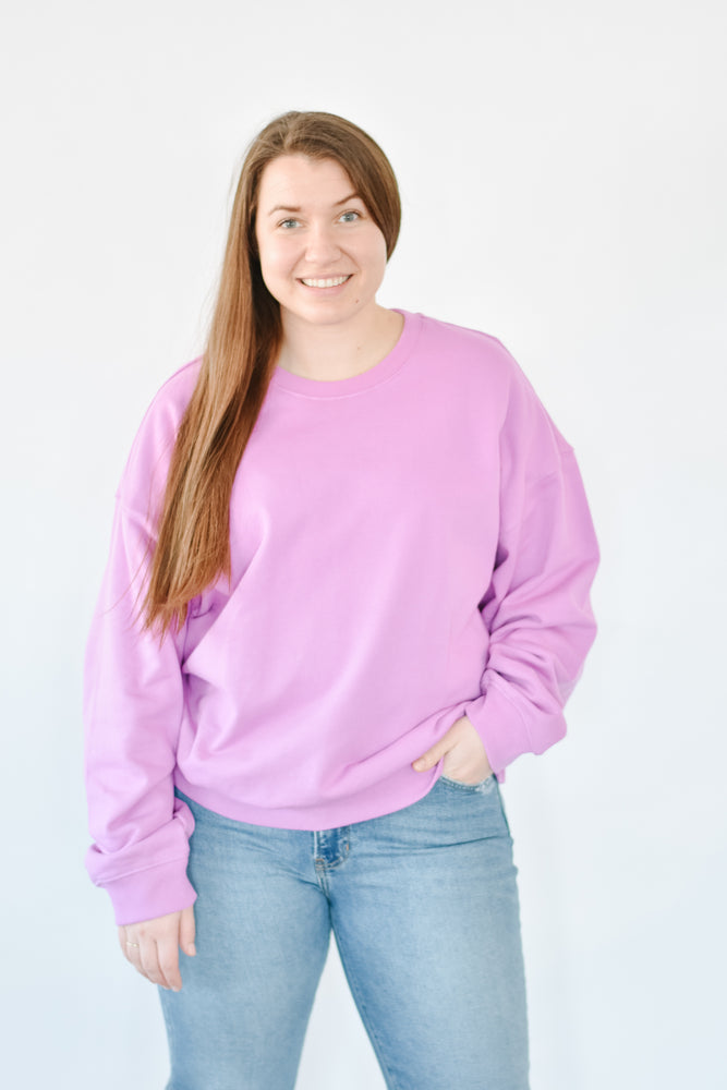 Oversized Crewneck Pullover - 90s Orchid