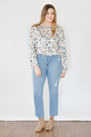 Geo Silk Floral Blouse