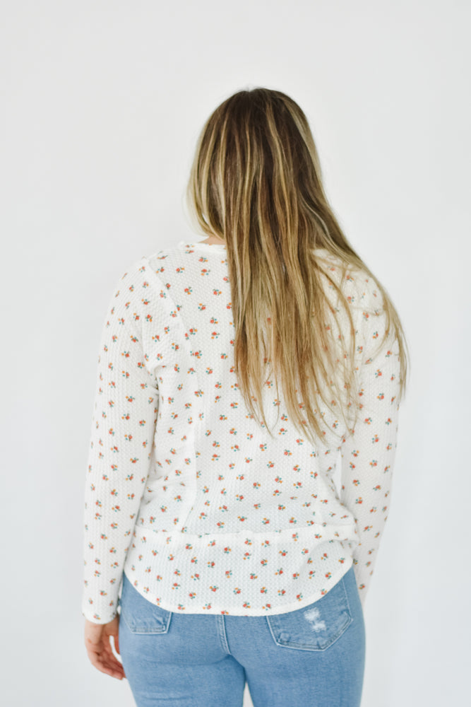 Floral Waffle Knit-White