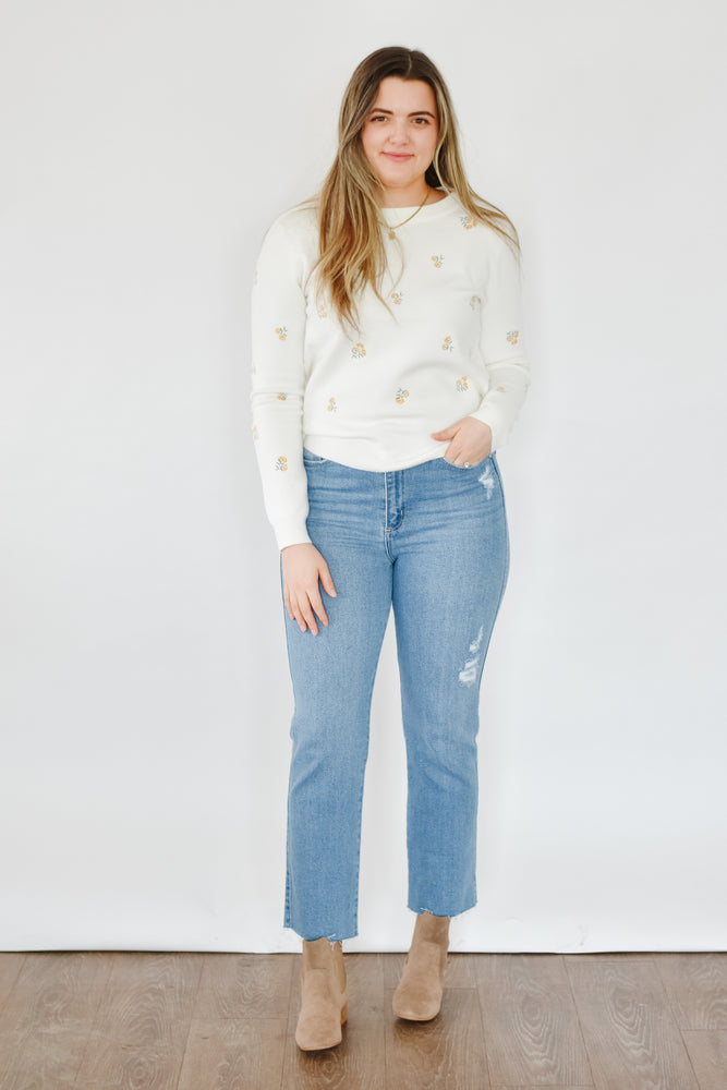 Ivory Floral Embroidered Sweater