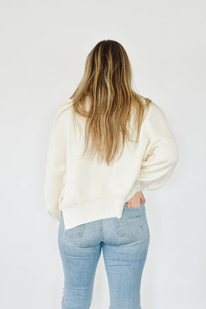 Cream Drop Shoulder Knit