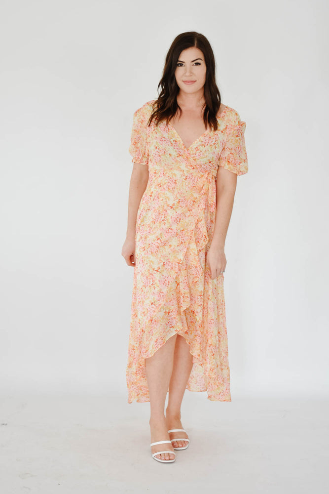 Sunset Floral Wrap Dress