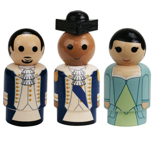 HAMILTON Alexander Hamilton, Washington, and Eliza Pin Mates Wooden Collectibles 3-Pack - PREORDER