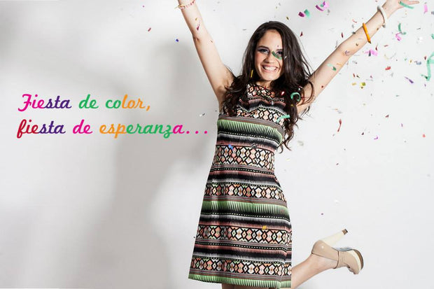 Vestido Dreaming Rombos negro multi color