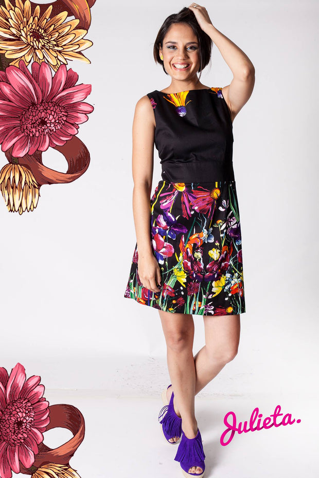 Vestido Sublime Negro con flores multi color