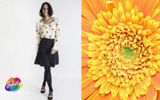 Blusa Simple Blanca girasoles