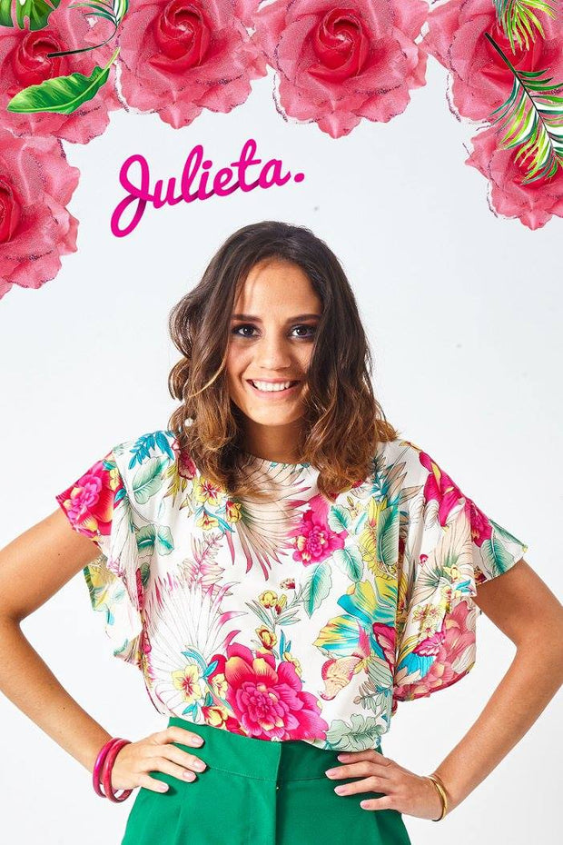 Blusa Volantes Ivory floral full color