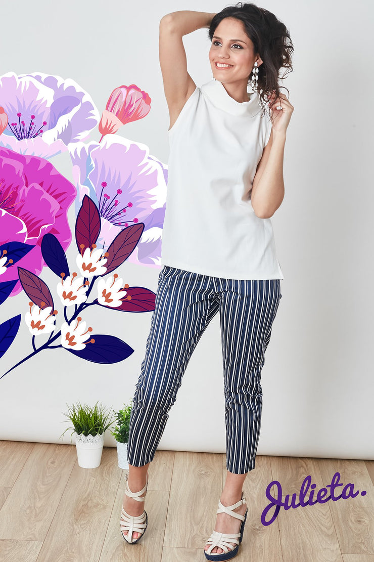 Pantalon simple rayado azul y blanco