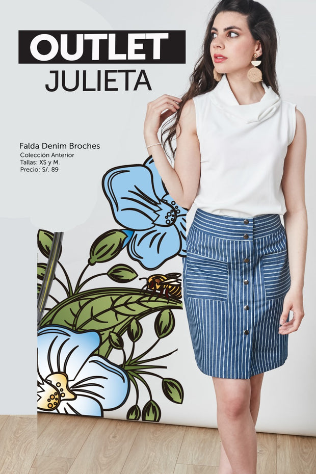 FALDA DENIM BROCHES