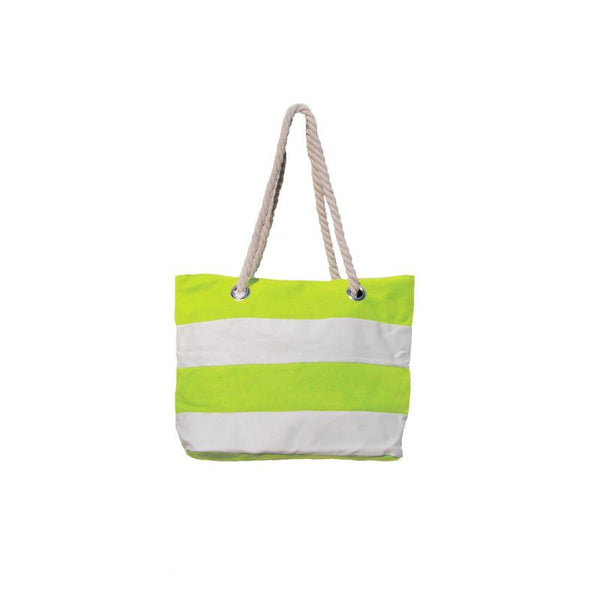 Le Comptoir De La Plage Cotton Bag Macao with stripes N°69 - assorted - plážová taška - lemon/bílá