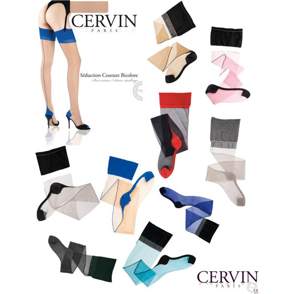 Cervin Pravé nylonky se švem Seduction Couture Bicolore