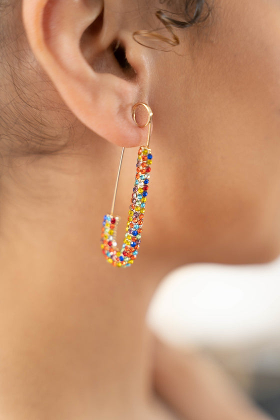multi color clip earrings