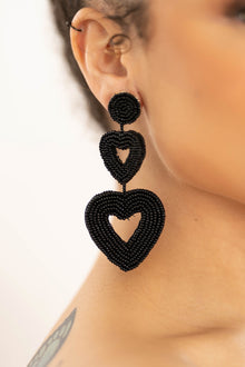 double black  beaded heart earrings