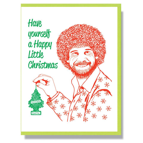 RIP Bob Ross Christmas Card