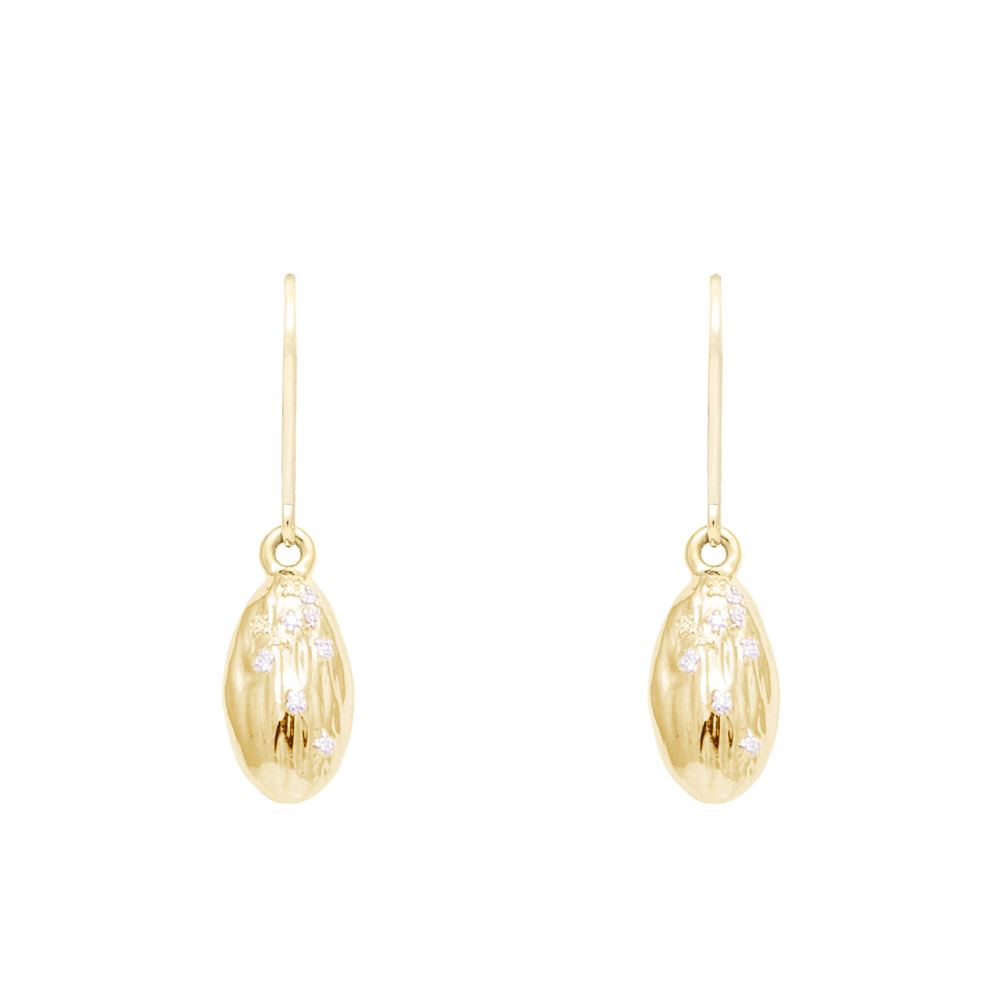 """We Are Alm-ighty"" Almond Earrings in Gold- Food for Thought Collection - Pavé the Way® Jewelry"