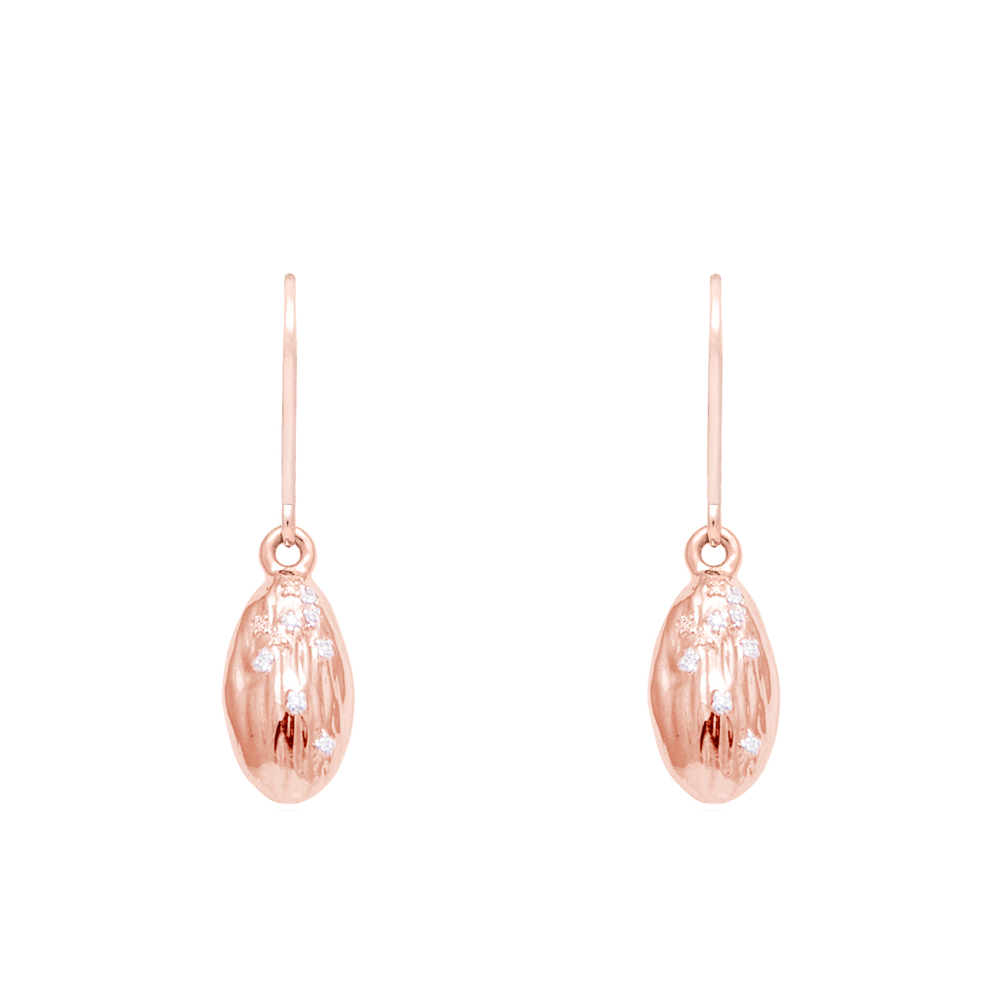"Load image into Gallery viewer, ""We Are Alm-ighty"" Almond Earrings in Rose Gold- Food for Thought Collection - Pavé the Way® Jewelry"