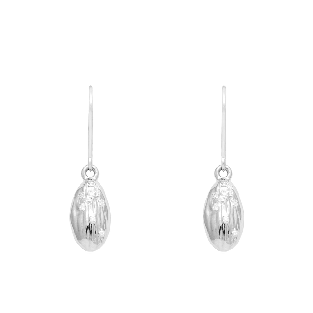 "Load image into Gallery viewer, ""We Are Alm-ighty"" Almond Earrings in Silver - Food for Thought Collection - Pavé the Way® Jewelry"