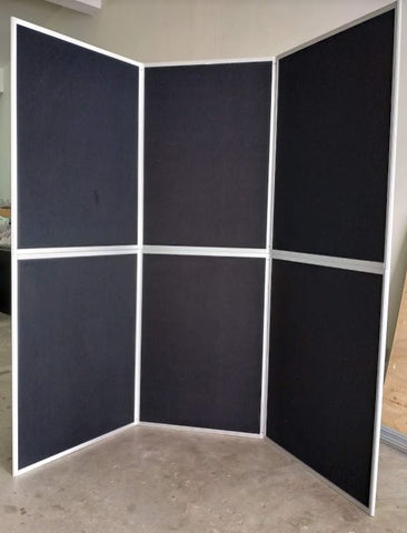 6 panel - 6 feet Black Fabric Both sided