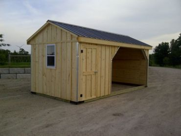 #HS10X20WT 10x20' Horse Run-in with 6ft Tack Room