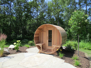 #770-PO 7X9' Clear Western Red Cedar Barrel Sauna With 2ft Porch - Maxwell Garden Centre