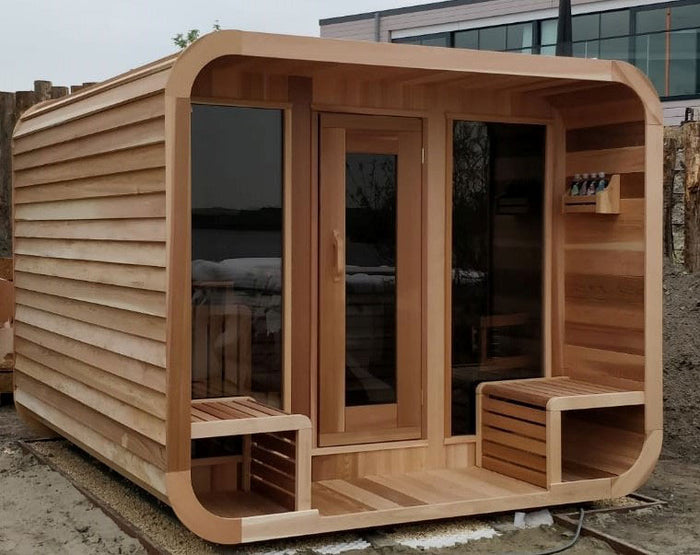 Clear Western Red Cedar Luna Sauna w/Porch