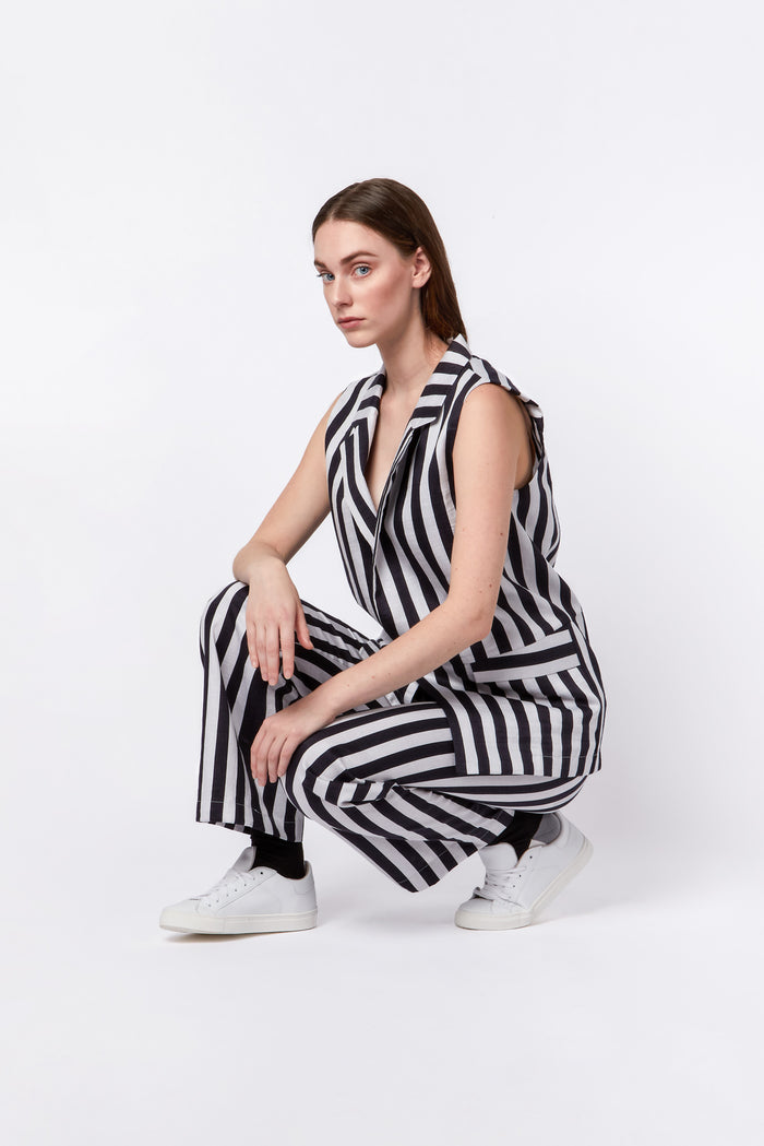 Gilet in black & white stripes LIMITED EDITION
