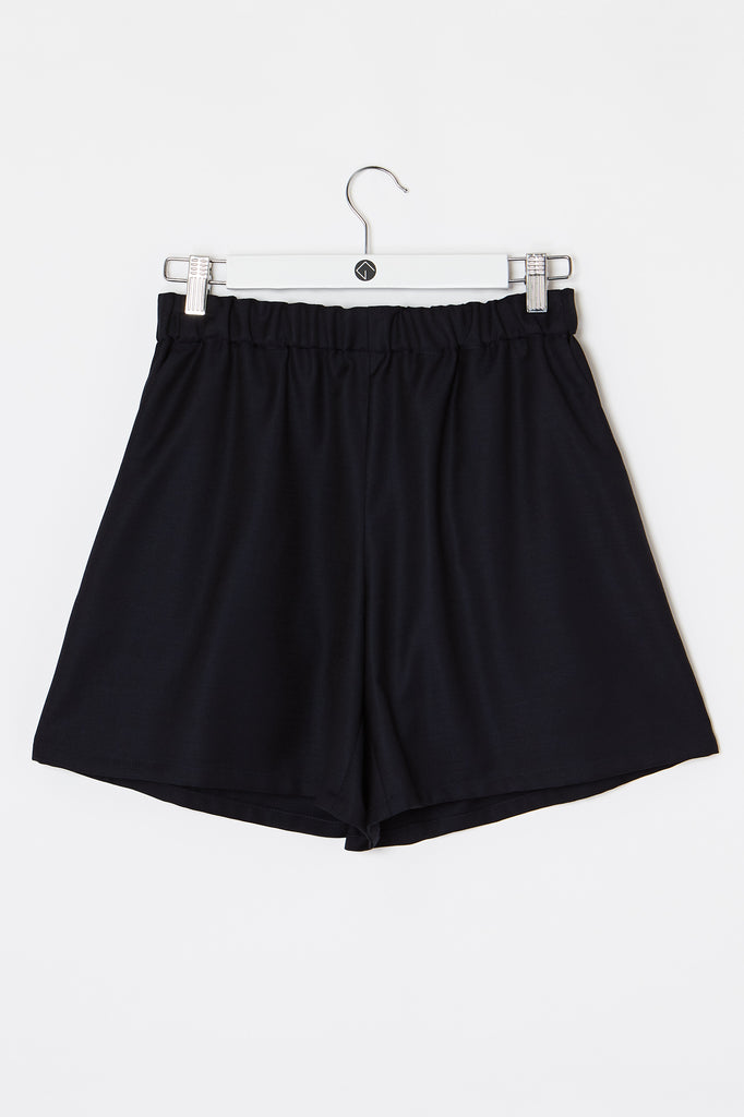 fair wool short in dark blue