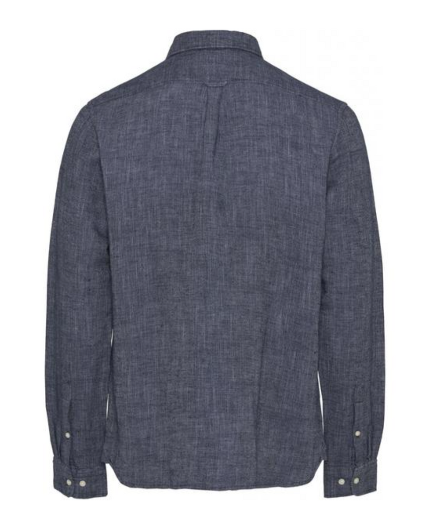 larch structured linen shirt in navy