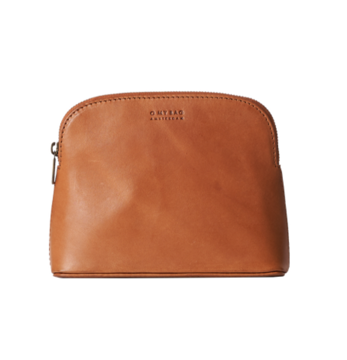 Cosmetic bag in classic cognac
