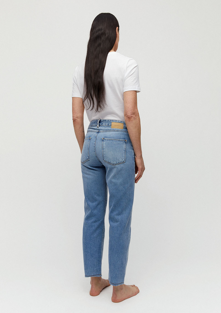 Fjellaa straight fit cropped denim in mid blue