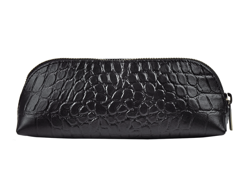 Pencil Case Large in black Croco Classic Leather