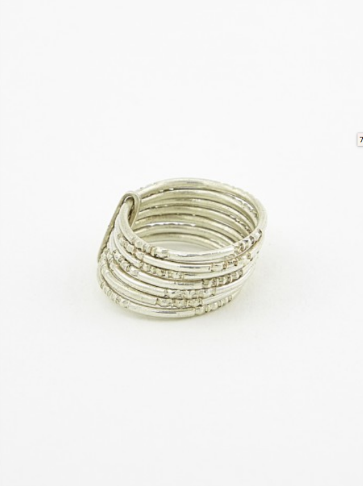 7 thin engraved rings silver by Ombre Claire at Kari Kari ZH, fair jewelry