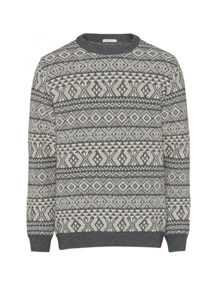 Two colored Jacquard O-Neck Knit in dark grey melange