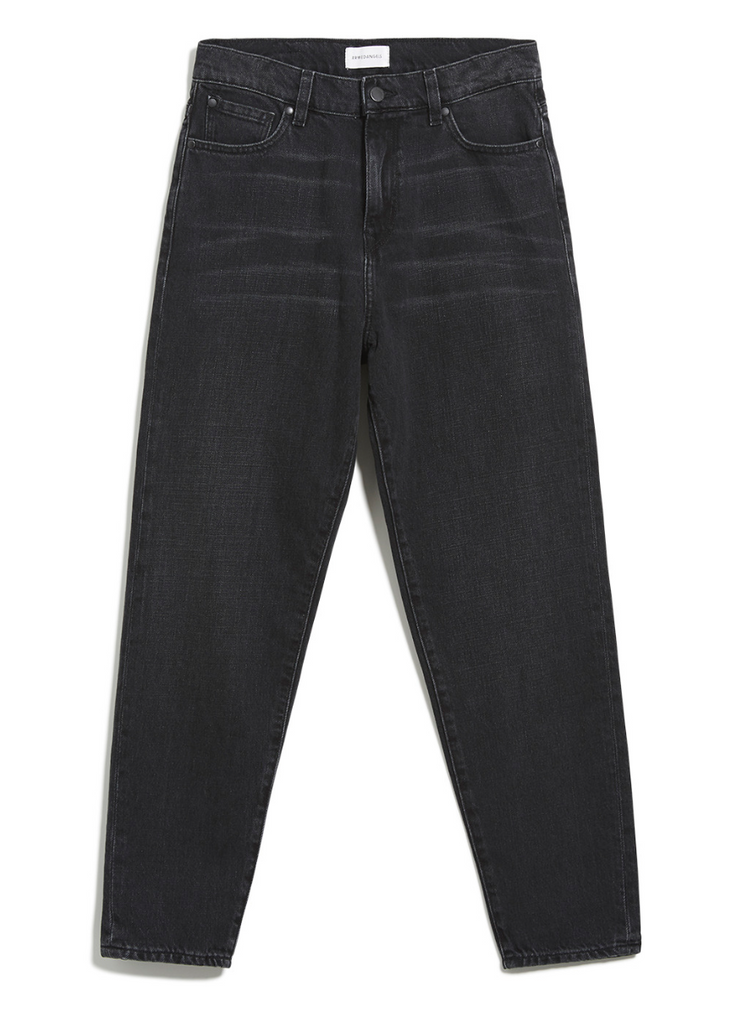 Mairaa Mom Fit High Waist Denim in washed down black