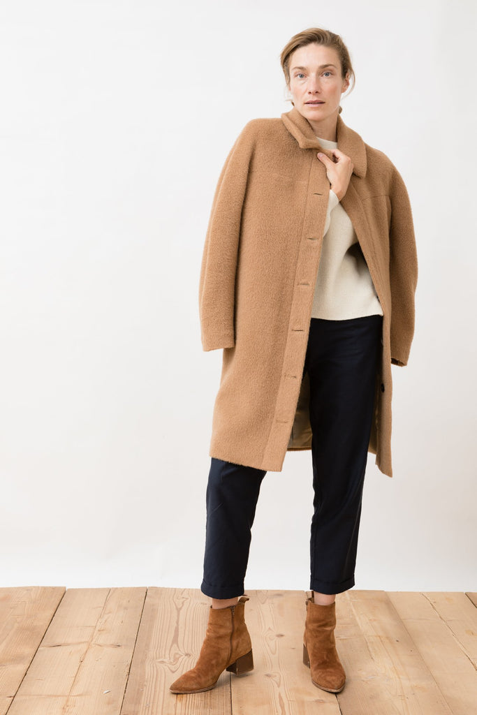 alpaca winter coat in camel