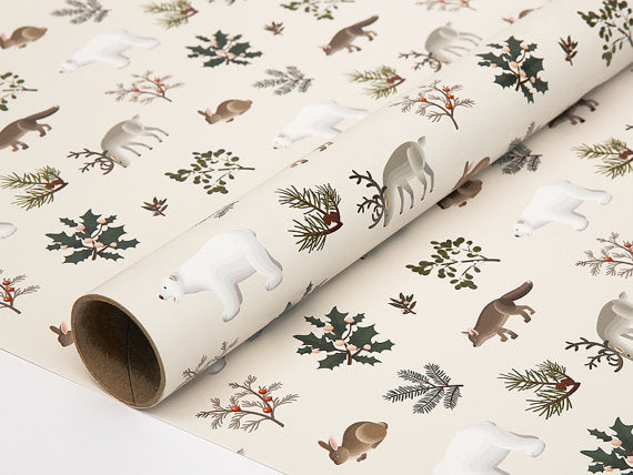 Winter Animals Christmas Wrapping Paper Cream - Holidays