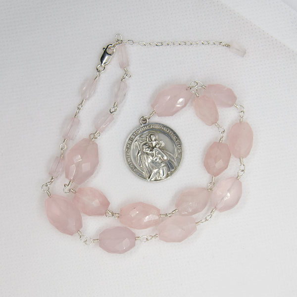 St Christopher Medal Rose Quartz Necklace