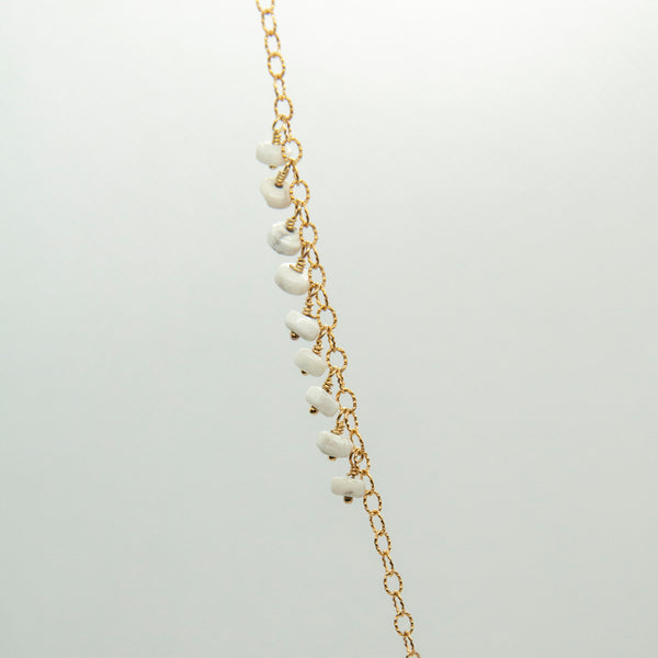 Howlite Rectangle Mixed Chain Necklace