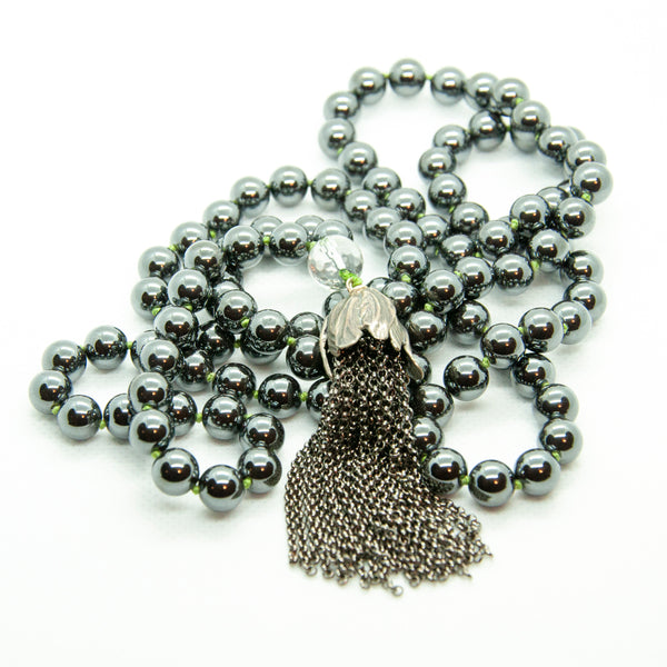 Hand Knotted Hematite Mala with Chain Tassel