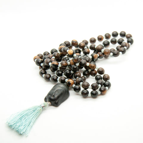 Tiger Ebony Mala with Buddha