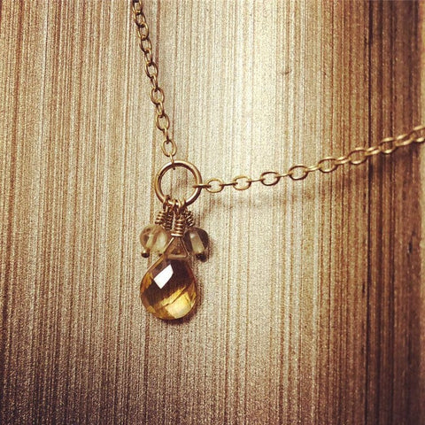 Faceted Citrine Drop Necklace