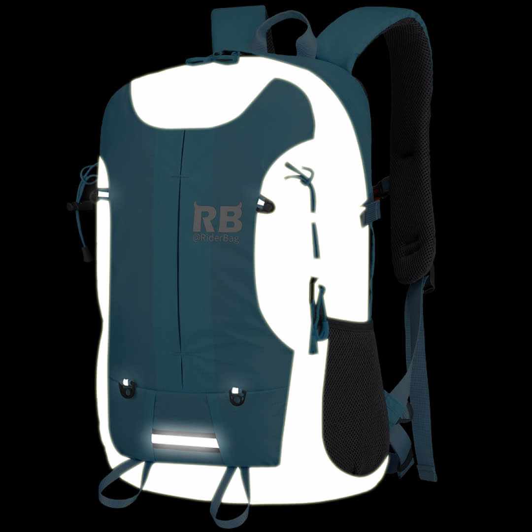 motorcycle backpack, blue backpack, reflective backpack, riderbag