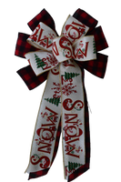 "10"" Wired 2-Ribbon Christmas Plaid Let It Snow Bow"