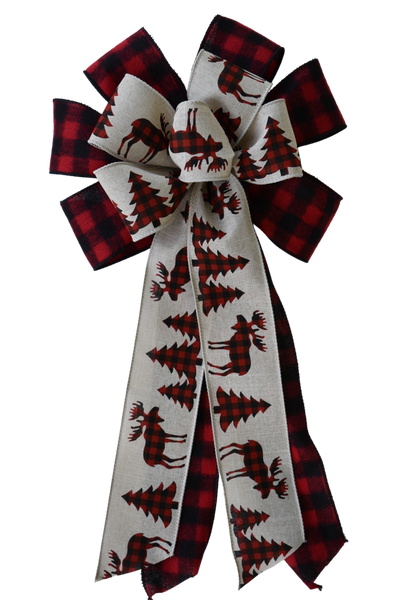 "10"" Wired 2-Ribbon Christmas Plaid Moose Bow"