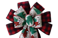 "10""  Wired 2-Ribbon Christmas Plaid Snowman Truck Bow"